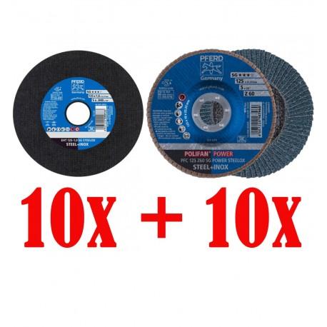 Bonuspack 10pcs SG-POWER 125/P60 + 10pcs SG STEELOX 125x1